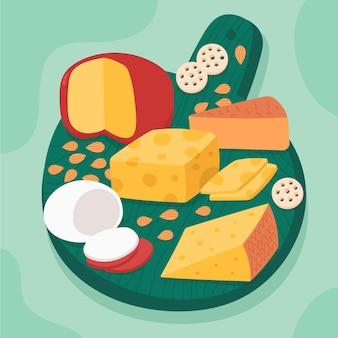 Tipos ilustrados de queso sobre tabla de madera.