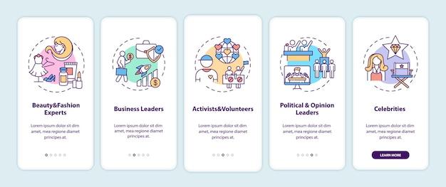 Tipos de influencers que incorporan la pantalla de la página de la aplicación móvil con conceptos
