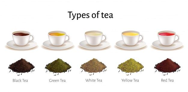 Tipos de juego de té, tazas de porcelana con bebida