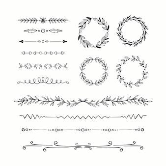 Tipos de marcos y divisores ornamentales dibujados a mano.
