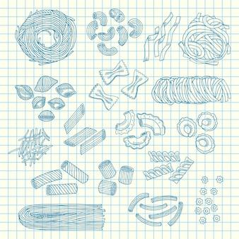 Tipos de pasta dibujados a mano en hoja de cuaderno portátil