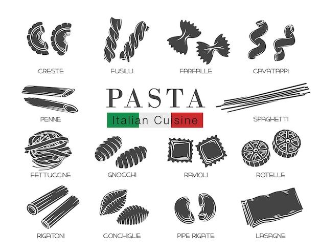 Tipos de pasta italiana o macarrones hermosa ilustración