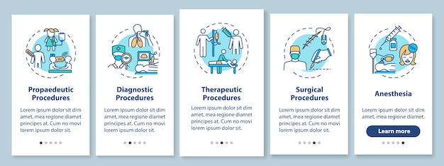 Tipos de procedimientos médicos que incorporan la pantalla de la página de la aplicación móvil con conceptos