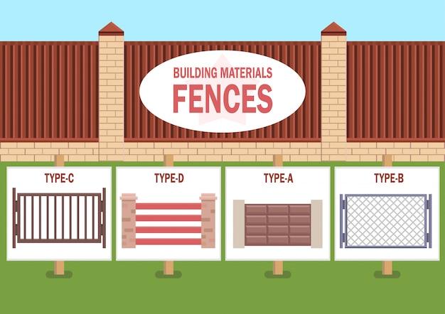 Tipos de puertas y vallas de casa plana vector concepto