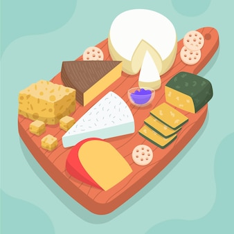 Tipos de queso dibujados sobre tabla de madera