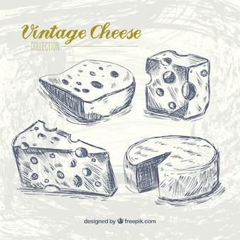 Tipos de queso en estilo retro