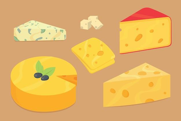 Tipos de queso. iconos de ilustración realista moderna. parmesano aislado o cheddar fresco sobre fondo blanco.