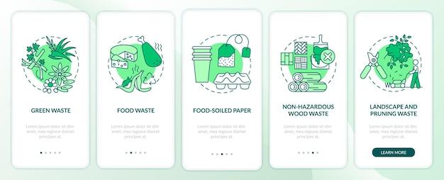 Tipos de residuos orgánicos que incorporan la pantalla de la página de la aplicación móvil con conceptos. pasos de paso de residuos de madera verdes, sucios de alimentos. plantilla de interfaz de usuario con color rgb
