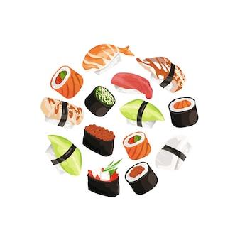 Tipos de sushi en circulo