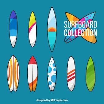 Tipos de tablas de surf modernas en colores