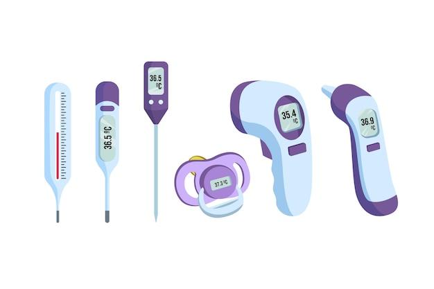 Tipos de termómetros en diseño plano