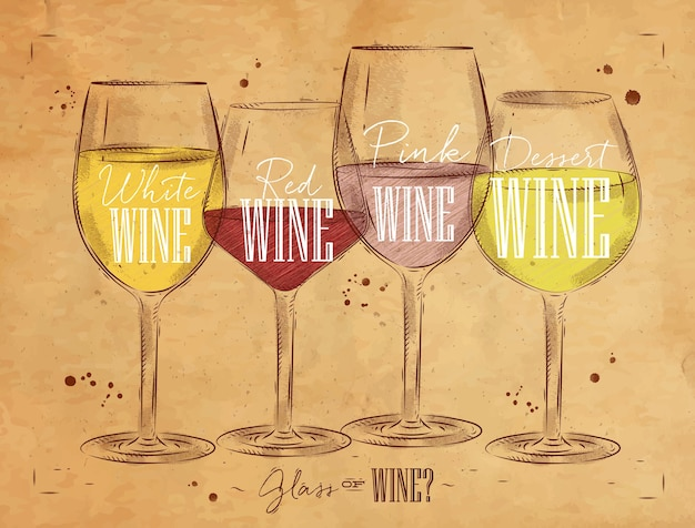 Tipos de vino de cartel con cuatro tipos principales de vino con letras vino blanco, vino tinto, vino rosado, dibujo de vino de postre en estilo vintage sobre fondo kraft