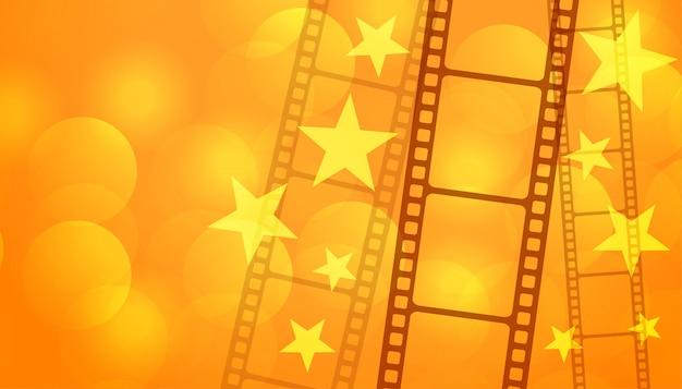 Tira de carrete de película con fondo de cine de estrellas