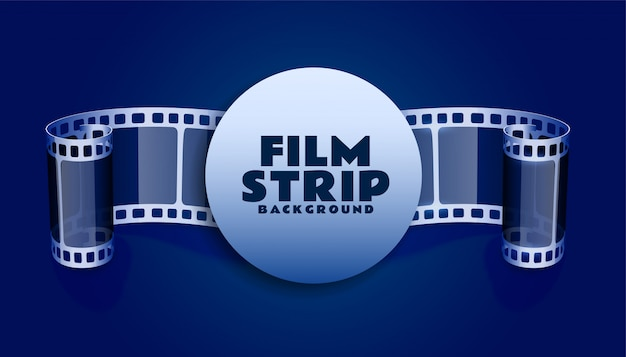 Tira de carrete de película en fondo de color azul