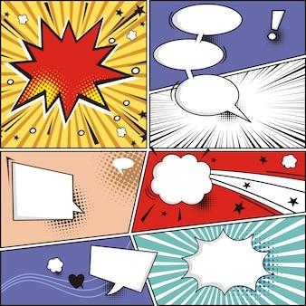 Tira cómica y burbujas de discurso cómico en la ilustración de vector de semitono colorido