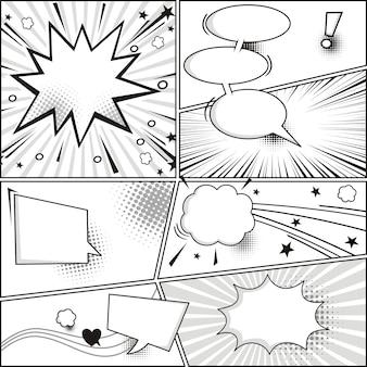 Tira cómica y burbujas de discurso cómico.