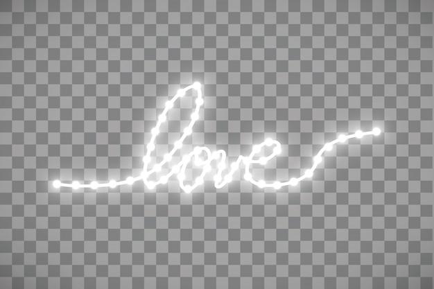 Tira led brillante en forma de corazón sobre fondo transparente