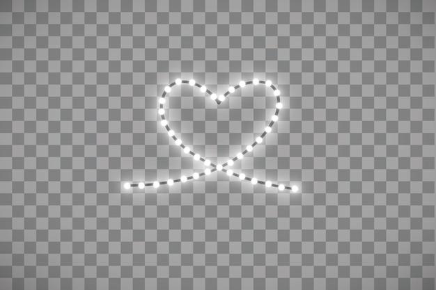 Tira de led brillante en forma de corazón sobre transparente