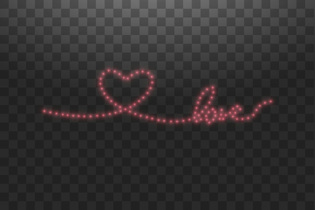Tira de led brillante en forma de corazón sobre transparente.