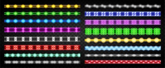 Tira de luz led aislado icono conjunto realista. icono de conjunto realista cinta de luz. tira llevada de la ilustración en el fondo blanco.