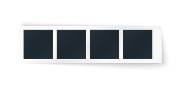 Tira de marco de fotos con lugares de imagen en fila. plantilla horizontal para fotomatón, único objeto vintage aislado.
