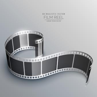 Tira de película 3d realista en fondo gris