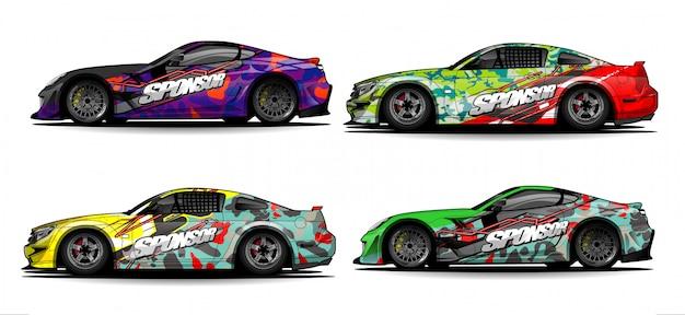 Tira de resumen de carreras de gráficos de envoltura de automóviles y fondo para envoltura de automóviles y adhesivo de vinilo - vector