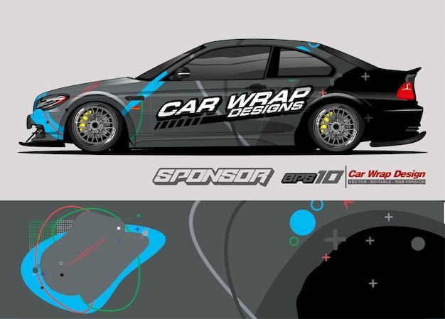 Tira de resumen de carreras de gráficos de envoltura de automóviles y fondo para envoltura de automóviles y pegatina de vinilo