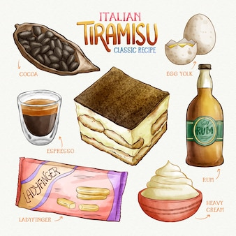 Tiramisú italiano deliciosa receta de acuarela