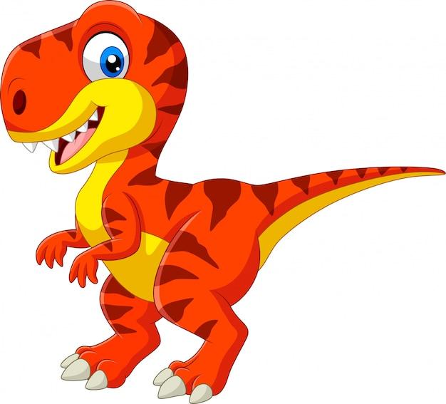Tiranosaurio de dibujos animados aislado en blanco