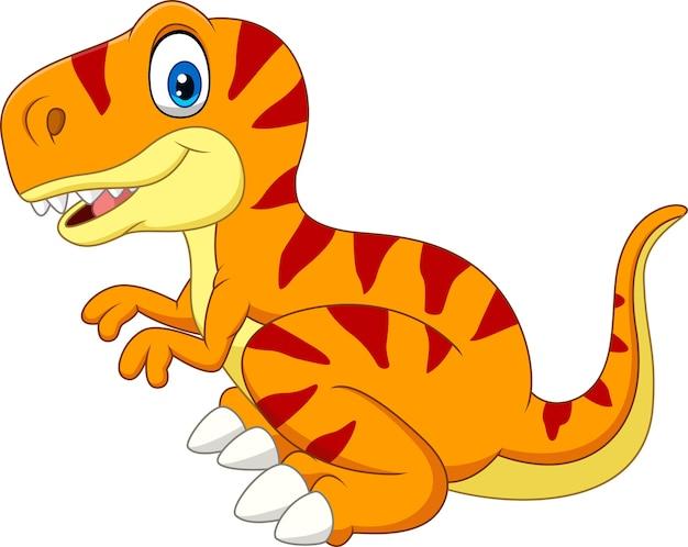 Tiranosaurio de dibujos animados aislado sobre fondo blanco