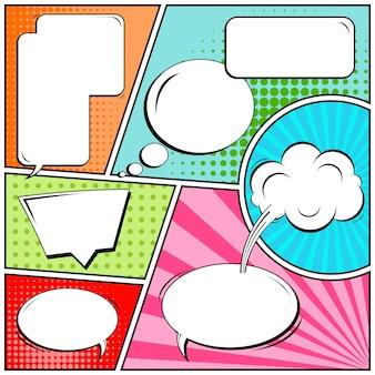Tiras cómicas o viñetas en estilo pop art con bocadillos en blanco