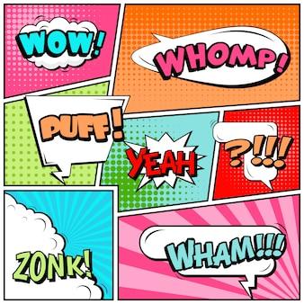 Tiras cómicas o viñetas en estilo pop art con burbujas de discurso: wow, whomp, puff, yes, zonk, wham!