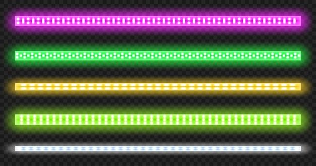 Tiras de led con efecto de brillo de neón aislado sobre fondo transparente.