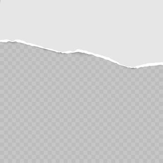 Tiras de papel gris horizontales cuadradas rasgadas para texto o mensaje.
