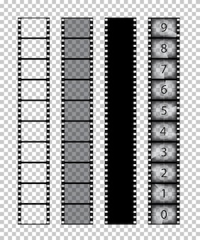 Tiras de película aisladas sobre fondo transparente.