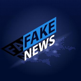 Titular de noticias falsas en fondo de mapa mundial punteado azul