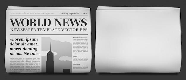 Titular de periódico. tabloide de noticias de negocios doblado a la mitad, portada de periódicos financieros e ilustración de diario