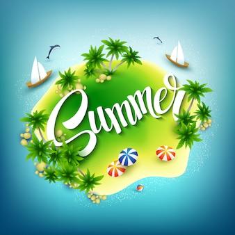 Titular de verano. isla tropical en el mar azul. ilustración