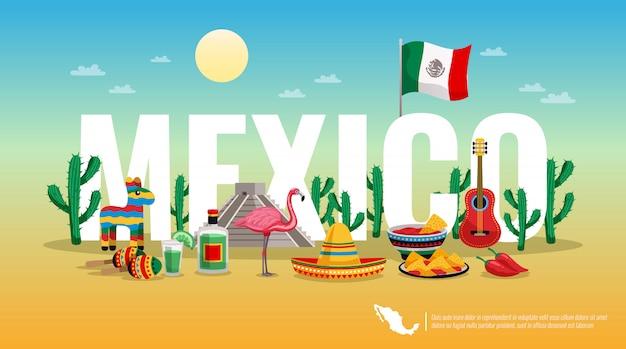 Título de encabezado de composición horizontal colorida de méxico con la bandera nacional símbolos tradicionales culturales letra grande