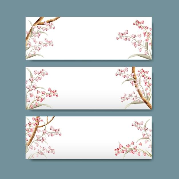 Título floral del diseño de la etiqueta