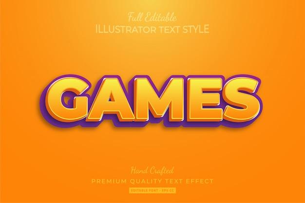 Título del juego texto editable estilo efecto premium