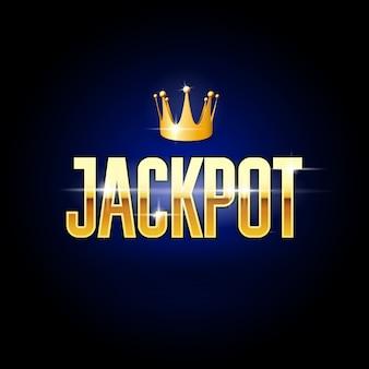 Título de oro jackpot y corona - póster de casino y juegos de azar