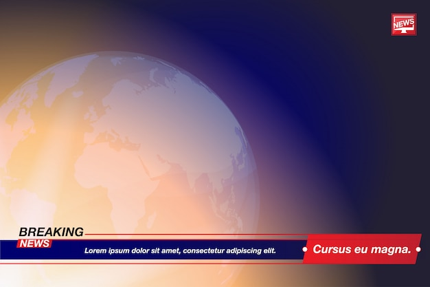 Título de la plantilla de noticias de última hora con el mapa mundial del mundo sobre fondo azul con efectos de luz para el canal de televisión de pantalla.
