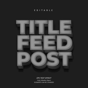 Título de plata 3d contenido efecto de texto editable premium