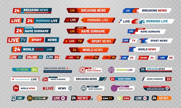 Título de la transmisión de televisión. conjunto de banners de canales de transmisión de televisión, títulos de espectáculos y noticias en vivo
