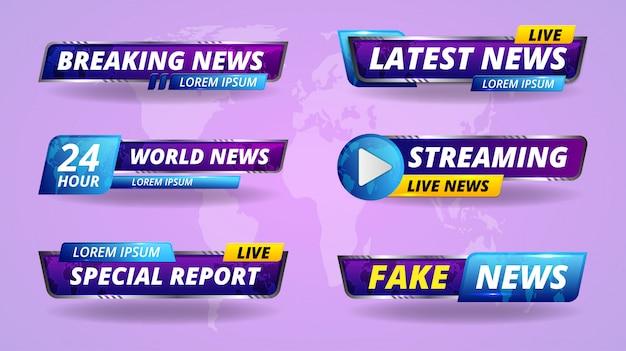 Título de tv banner de radiodifusión. transmisión de tv breaking, noticias falsas y encabezado de pantalla de informe especial.