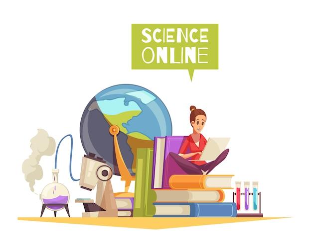 Título universitario en ciencias calificación en línea aprendizaje lejano publicidad composición de dibujos animados con microscopio libros de texto para estudiantes portátil