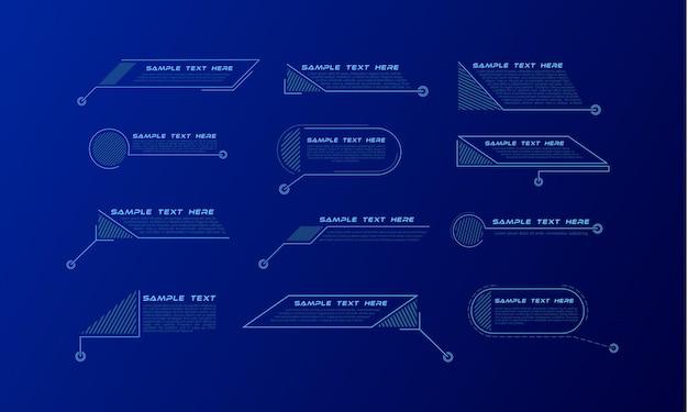 Títulos de llamadas digitales. conjunto de plantilla de banner de tecnología de hud.