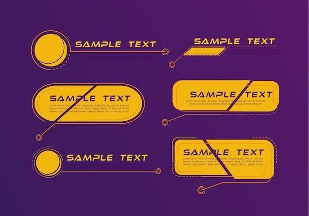 Títulos de llamadas digitales. conjunto de plantilla de marco de ciencia ficción futurista de hud. banners modernos del tercio inferior.
